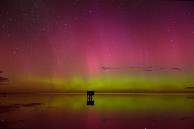 Lake Ellesmere, New Zealand the southern lights