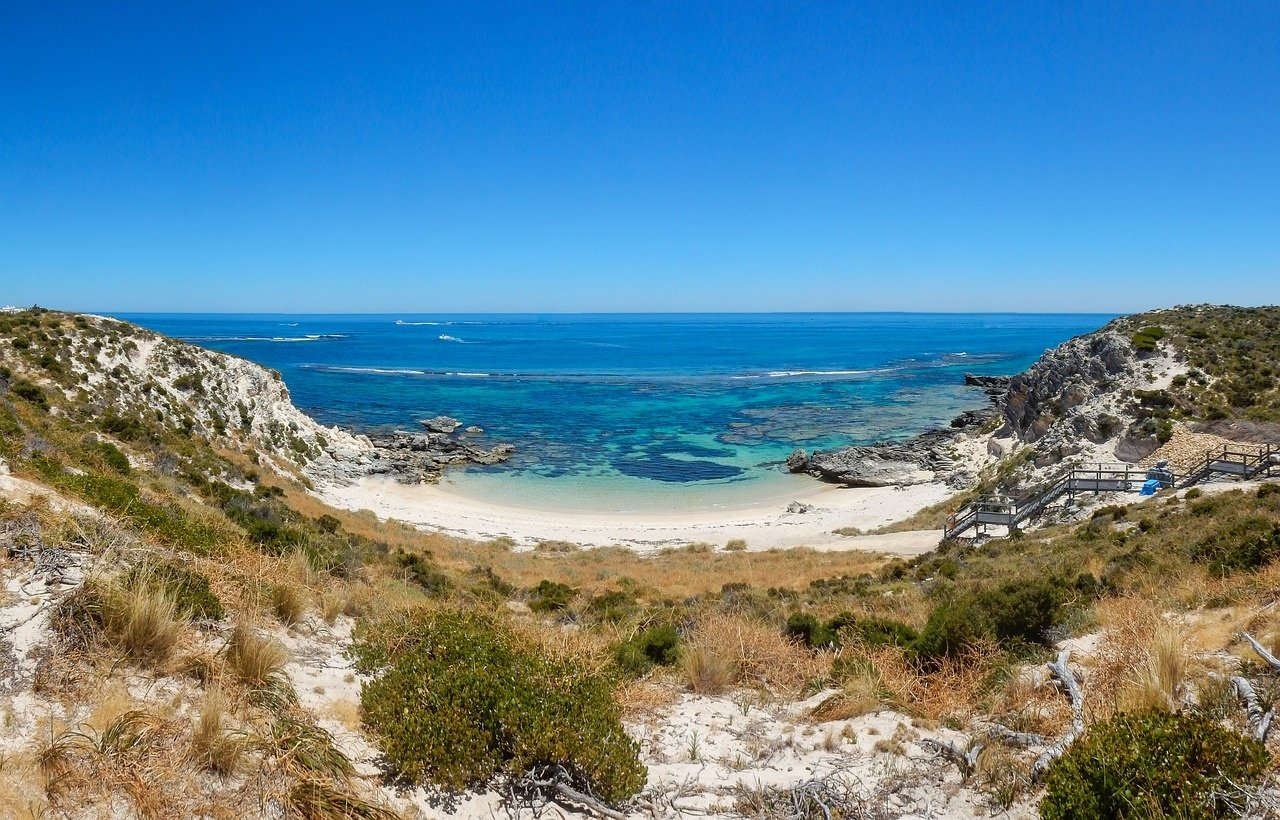 View of the coastal sealine on Rottnest Island