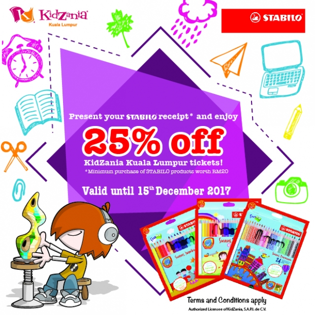 25% Off Admission Ticket in Kidzania Kuala Lumpur with Stabilo