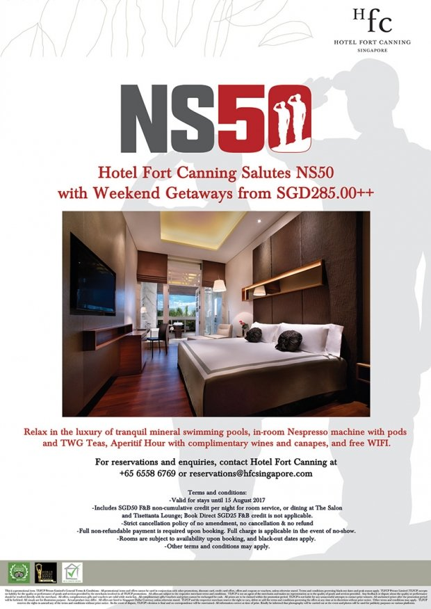Hotel Fort Canning Salutes NS50 with Weekend Getaway from SGD285