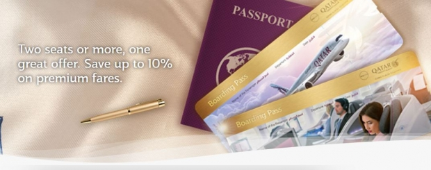 Two Seats or More, One Great Offer. Save up to 10% on Premium Fares with Qatar Airways
