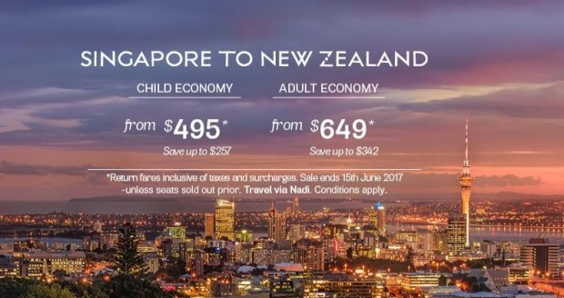 Fly to New Zealand from SGD649 | Book your Flights until 15 June 2017 on Fiji Airways