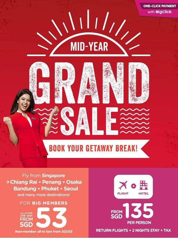 Mid-Year Grand Sale in AirAsia with Fares from SGD53