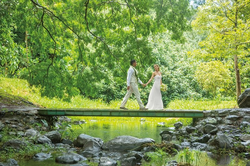 Bride and Groom walking on bridge in tropical garden, South Kauai