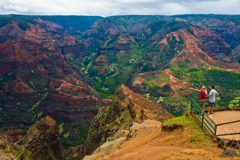 Couple enjoying the Waimea Canyon, nicknamed the Grand Canyon of the Pacific, Waimea, Kauai