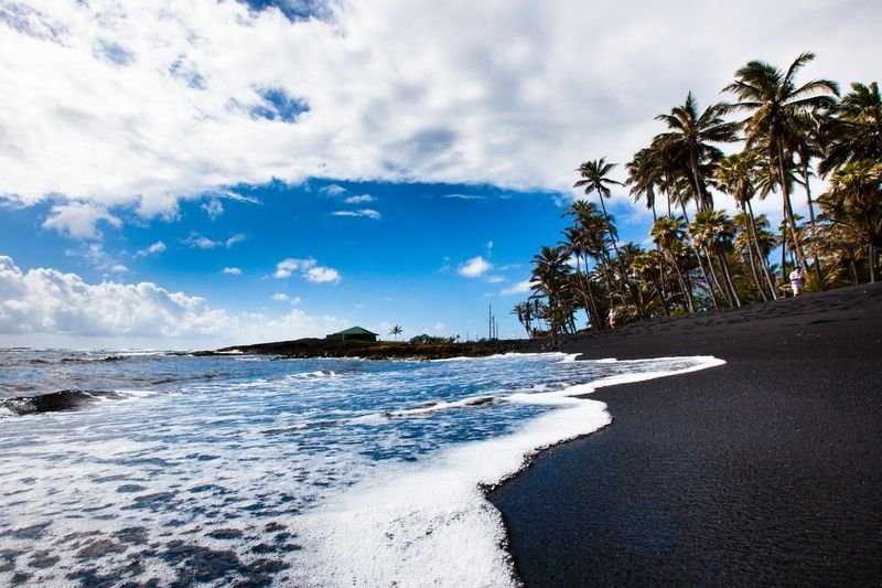 Punaluu Black Sand Beach, Punaluu, Hawaii Island