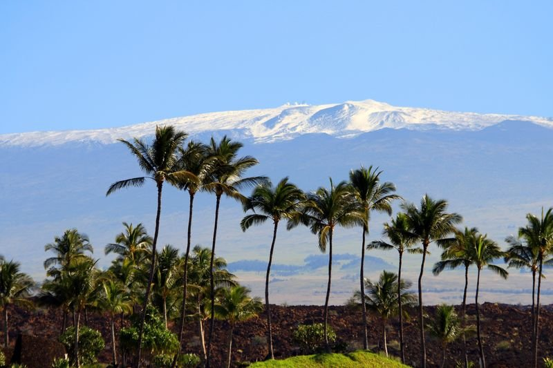 Snow topped Maunakea from the Kohala Coast, Island of Hawaii